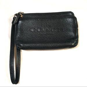 Black authentic Coach double corner zip wristlet